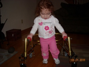 Using her shiny new walker. Abby was upset it didn't have sparkles.
