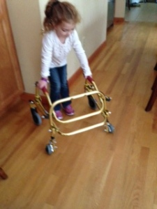 Bridget saying bye to her walker.